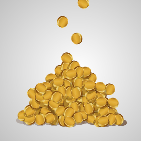 golden coins: Background with falling golden coins isolated on a white background. A mountain of gold coins. Illustration