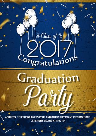 毕业典礼或聚会通知或邀请矢量模板。