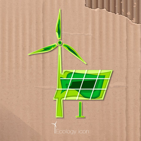 solarenergy: Icon of windmill and solar battery