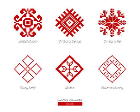 슬라브 빨간색과 벨로루시 국가 상징, 장식. 자수