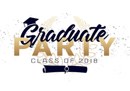 卒業ラベル。卒業デザイン、お祝い事イベント、パーティー、高校や大学卒業生のためのベクトルテキスト。挨拶のための2018年のレタリングクラス