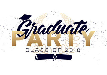 Graduation label. Vector text for graduation design, congratulation event, party, high school or college graduate. Lettering Class of 2018 for greeting, invitation card