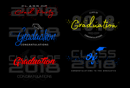 Set graduation label. Vector text for graduation design, congratulation event, party, high school or college graduate. Lettering Class of 2018 for greeting, invitation card