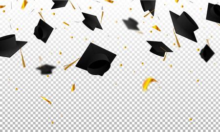 Graduado de gorras y confeti sobre un fondo transparente. Gorras levantadas. Tarjeta de invitación con diplomas.