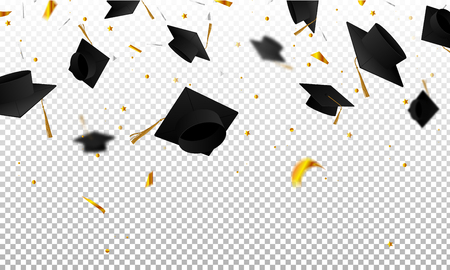 Graduate caps and confetti on a transparent background. Caps thrown up. Invitation card with diplomas.