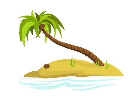 Illustration of a palm tree on an island.