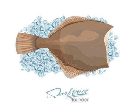 Olive Flounder. Vector illustration sea fish on ice cubes isolated on white background. Icon badge flounder fish for design seafood packaging and market.