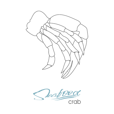 Silhouette crab meat. Linear silhouette crab meat. Crab badge for design seafood packaging and market, food packaging or underwater sea animal themed design. Vector illustration.