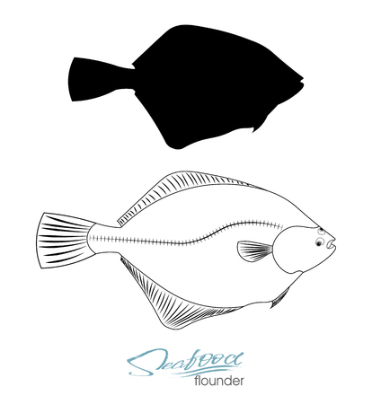 Flounder fish silhouette. Linear silhouette sea fish. Vector illustration. Icon badge flounder fish for design seafood packaging and market. Edible sea food Ilustração