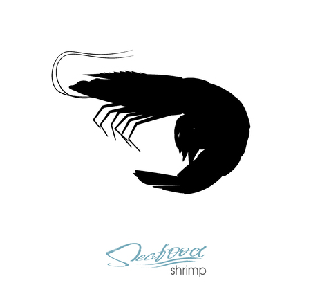 Silhouette shrimp. Linear silhouette shrimp. Shrimps badge for design seafood packaging and market, food packaging or underwater sea animal themed design. Vector illustration.