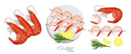 Shrimps on a skewer with rosemary and lemon on the plate. Shrimp isolated on white background. Vector illustrationin cartoon style. Shrimps, lemon, rosemary separately on a white background.