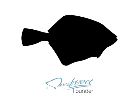 Flounder fish silhouette. Vector illustration. Icon badge flounder fish for design seafood packaging and market. Edible sea food