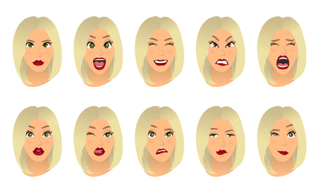 Women facial expressions, gestures, emotions happiness surprise disgust sadness rapture disappointment fear surprise joy smile cry despondency. Cartoon icons set isolated. Vector illustration Illustration