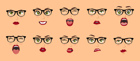 Woman with glasses facial expressions, gestures, emotions happiness surprise disgust sadness rapture disappointment fear surprise joy smile despondency. Cartoon icons set isolated. Vector illustration
