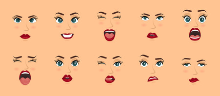 Women facial expressions, gestures, emotions happiness surprise disgust sadness rapture disappointment fear surprise joy smile cry despondency. Cartoon icons set isolated. Vector illustration Illusztráció