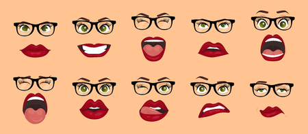 Comic emotions. Woman with glasses facial expressions, gestures, emotions happiness surprise disgust sadness rapture disappointment fear surprise joy smile despondency. Cartoon icons set isolated.