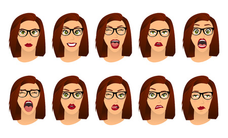 Woman with glasses facial expressions, gestures, emotions happiness surprise disgust sadness rapture disappointment fear surprise joy smile despondency. Cartoon icons set isolated. Vector illustration Illusztráció