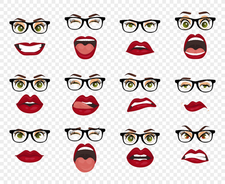 Comic emotions. Woman with glasses facial expressions, gestures, emotions happiness surprise disgust sadness rapture disappointment fear surprise joy smile despondency. Cartoon icons big set isolated.