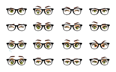Cartoon female eyes. Colored vector closeup eyes with glasses. Female woman eyes and brows image collection set. Emotions eyes. Illustration Illusztráció