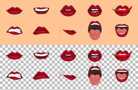 Cartoon pictogrammen instellen geïsoleerd. Schattige mond uitdrukkingen gezichtsgebaren lippen verdriet vervoering teleurstelling angst verrassing vreugde glimlach huilen moedeloosheid koketterie schattige mond. Geïsoleerde vectorillustratie Vector Illustratie