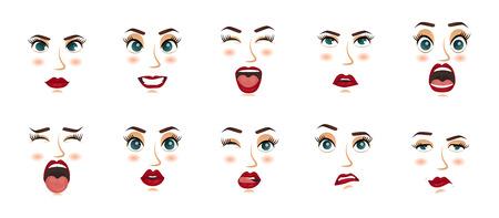 Frauen Mimik, Gesten, Emotionen Glück Überraschung Ekel Traurigkeit Entrückung Angst Angst Überraschung Freude Lächeln Weinen Verzweiflung. Vektorillustration. Karikaturikonen eingestellt lokalisiert.