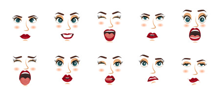 Women facial expressions, gestures, emotions happiness surprise disgust sadness rapture disappointment fear surprise joy smile cry despondency. Vector illustration. Cartoon icons set isolated.