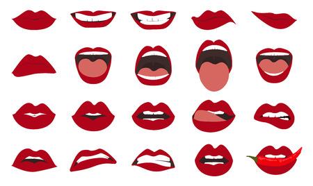 Insieme di gesti delle labbra della donna. Bocche di ragazza si chiudono con trucco rossetto rosso che esprime emozioni diverse.