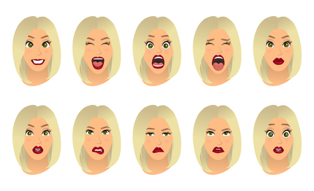 Women facial expressions, gestures, emotions happiness surprise disgust sadness rapture disappointment fear surprise joy smile cry despondency. Vector illustration. Cartoon icons set isolated. Illusztráció