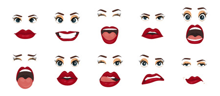 Women facial expressions, gestures, emotions happiness surprise disgust sadness rapture disappointment fear surprise joy, smile cry coquetry cute mouth. Comic emotions. Cartoon icons set isolated.