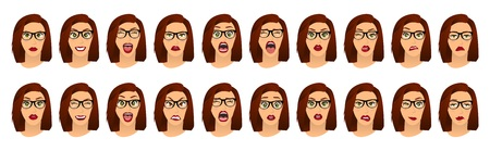Woman with glasses facial expressions, gestures, emotions happiness surprise disgust sadness rapture disappointment fear surprise joy smile despondency. Vector illustration. Cartoon icons set isolated Illusztráció