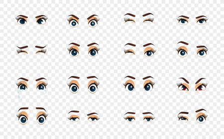 Cartoon female eyes. Illustration. Colored vector closeup eyes. Female woman eyes and brows image collection set. Emotions eyes. Illustration Illusztráció