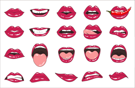 Lips patch collection. Vector illustration of doodle woman lips expressing different emotions, such as smile, kiss, half-open mouth, biting lip, lip licking, tongue out. Isolated on white.