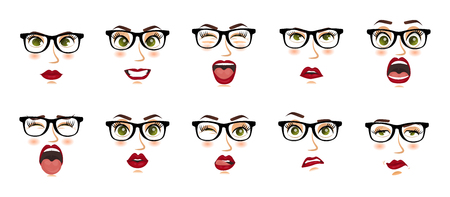 Woman with glasses facial expressions, gestures, emotions happiness surprise disgust sadness rapture disappointment fear surprise joy smile despondency. Comic emotions. Cartoon icons set isolated