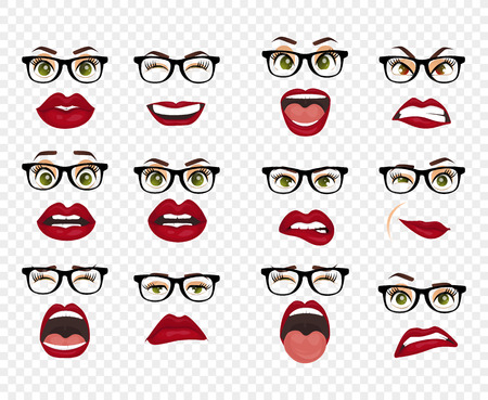 Woman with glasses facial expressions, gestures, emotions happiness surprise disgust sadness rapture disappointment fear surprise joy smile despondency. Comic emotions. Cartoon icons big set isolated