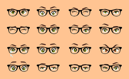 Cartoon female eyes. Illustration. Colored vector closeup eyes with glasses. Female woman eyes and brows image collection set. Emotions eyes. Illustration