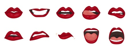 Cute mouth expressions facial gestures lips sadness rapture disappointment fear surprise joy smile cry despondency coquetry cute mouth. Cartoon icons set isolated. Isolated vector illustration Stock fotó
