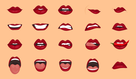 Cartoon icons big set isolated. Cute mouth expressions facial gestures lips sadness rapture disappointment fear surprise joy smile cry despondency coquetry cute mouth. Isolated vector illustration