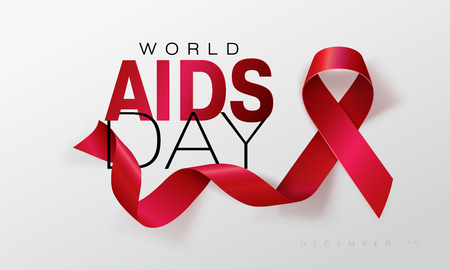 Aids Awareness. World Aids Day concept. Red Ribbon. Vector illustration