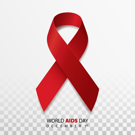 Realistic red ribbon, world aids day symbol. Vector illustration Illustration