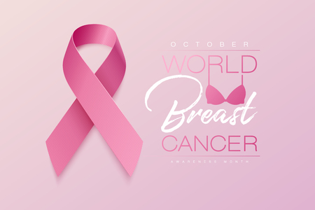 Realistic pink ribbon, breast cancer awareness symbol, vector illustration Çizim