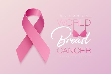 Realistyczna różowa wstążka, symbol świadomości raka, ilustracji wektorowych
