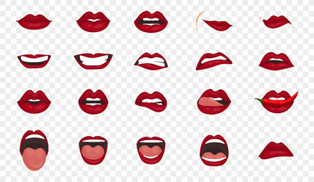Cartoon icons big set isolated. Cute mouth expressions facial gestures lips sadness rapture disappointment fear surprise joy smile cry despondency coquetry cute mouth. Isolated vector illustration 向量圖像