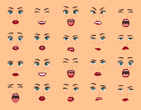 Women facial expressions, gestures, emotions happiness surprise disgust sadness rapture disappointment fear surprise joy, smile cry coquetry cute mouth. Comic emotions. Cartoon icons big set isolated. Vektoros illusztráció