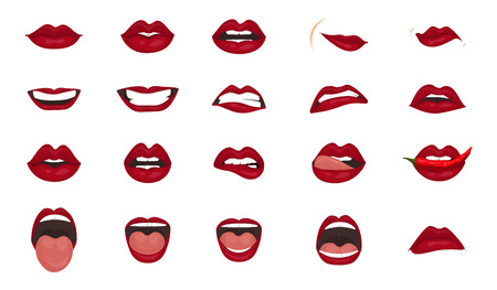 Cartoon icons big set isolated. Cute mouth expressions facial gestures lips sadness rapture disappointment fear surprise joy smile cry despondency coquetry cute mouth. Isolated vector illustration Çizim