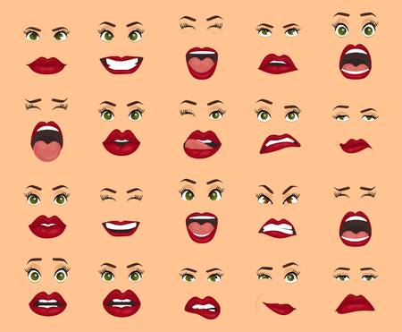 Women facial expressions, gestures, emotions happiness surprise disgust sadness rapture disappointment fear surprise joy, smile cry coquetry cute mouth. Comic emotions. Cartoon icons big set isolated.