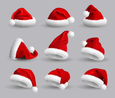 Set of Red Santa Claus Hats isolated on gray background. Vector Realistic Illustration.