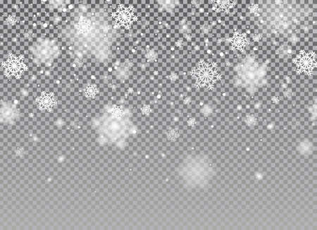Snow falling background. White glitter snowflakes falling down on transparent background. Vector magic Christmas eve snowfall. Illustration