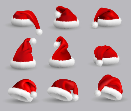 Collection of Red Santa Claus Hats isolated on gray background. Set. Vector Realistic Illustration.