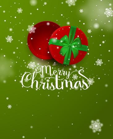 Christmas poster. Christmas inscription in the open red gift box with green ribbon and bow with falling snow isolated on green background. Template. Top view. Vector Illustration.