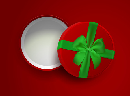 Opened red empty gift box with green ribbon and bow isolated on red background. Top view. Vector illustration. Template for your presentation design, banner, brochure or poster. Ilustração